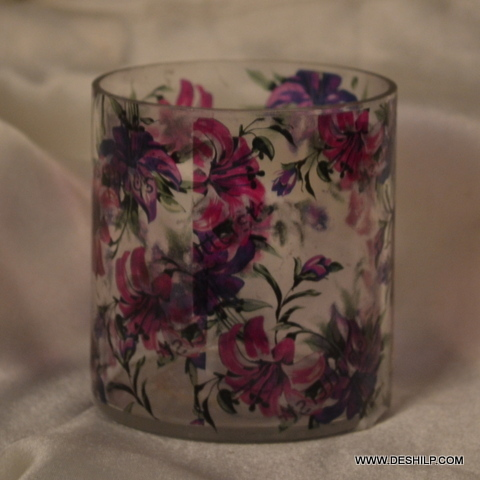 Printed Glass Light Candle Holder