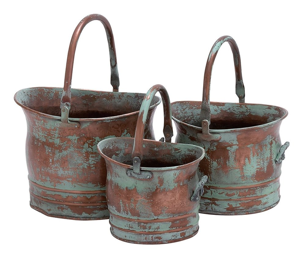 Iron Bucket Planter With Handles Set of 3