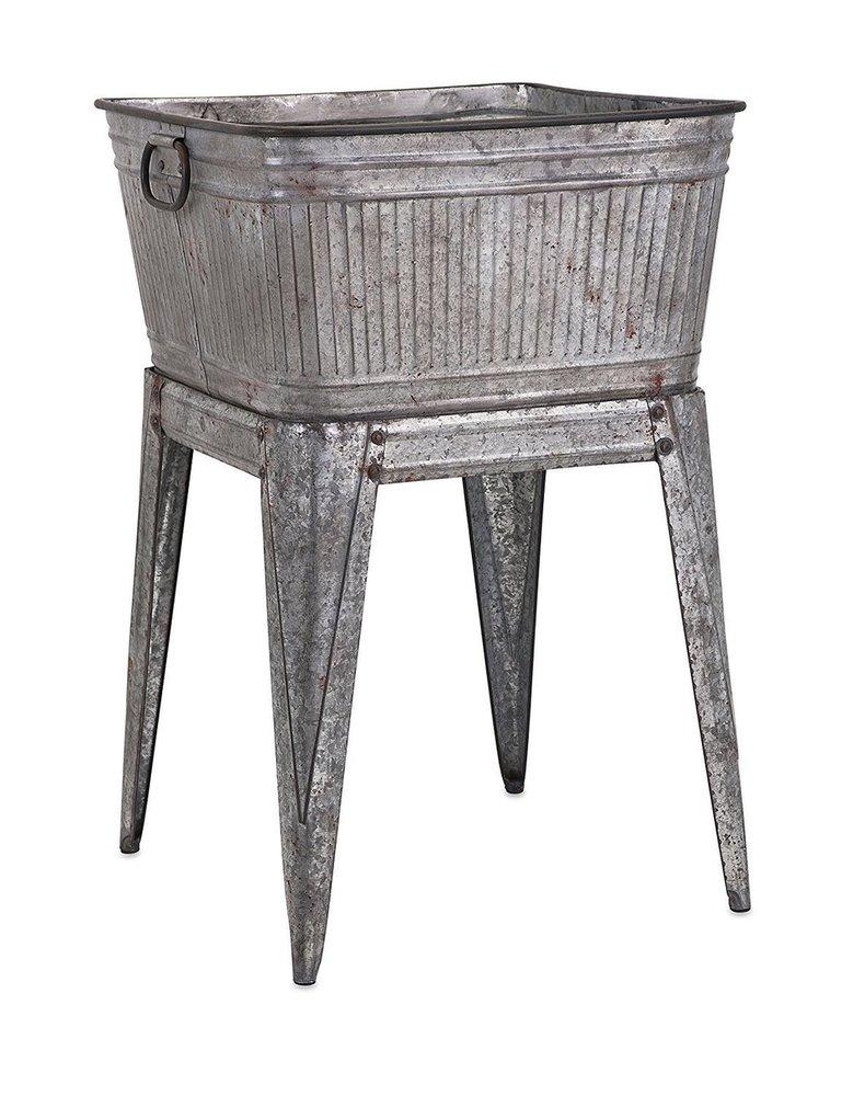 Iron Tub on Stand Gray Iron Planter