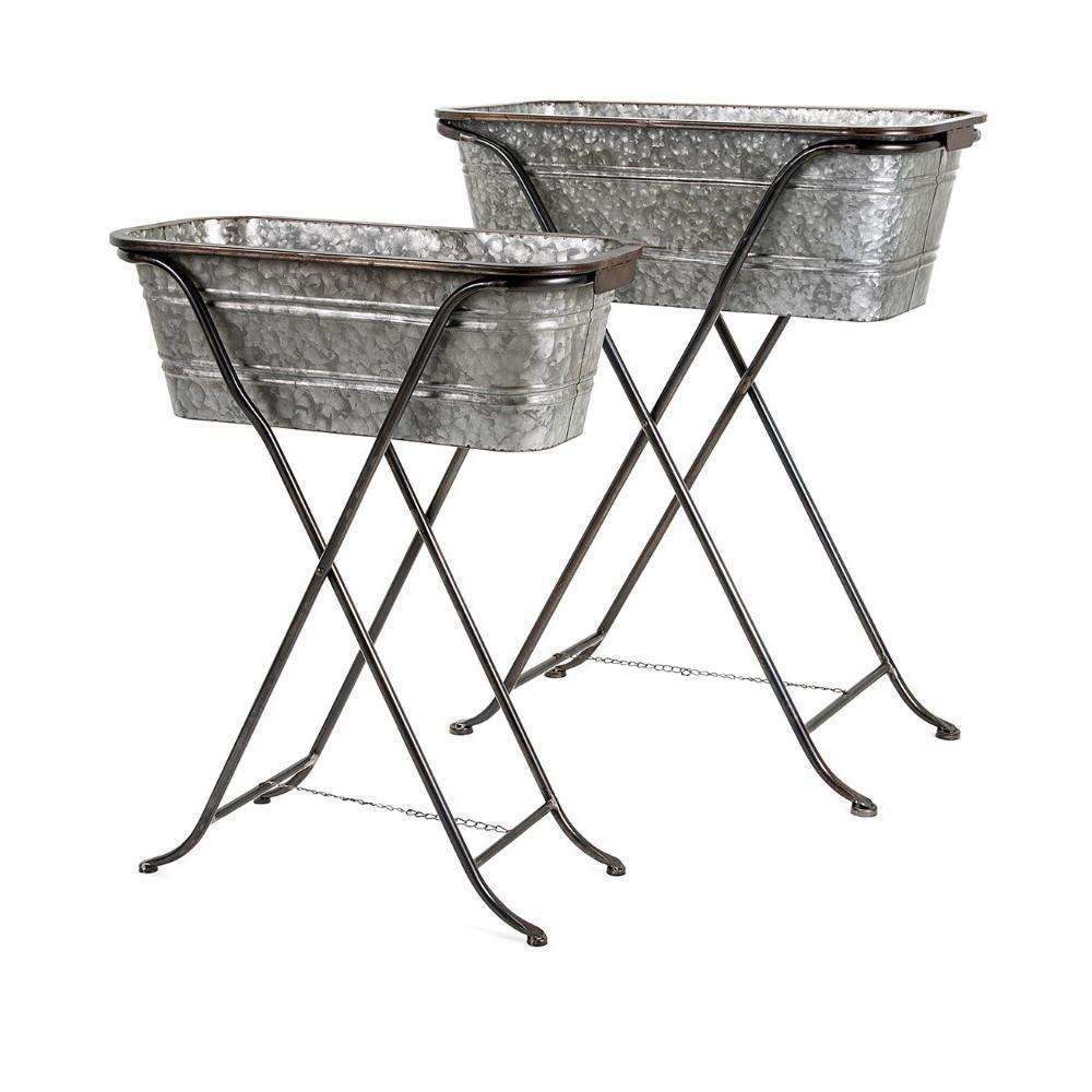 Galvanized Planters on Stand -Set of 2
