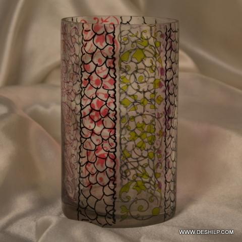 Decorated Round Glass Flower Vase