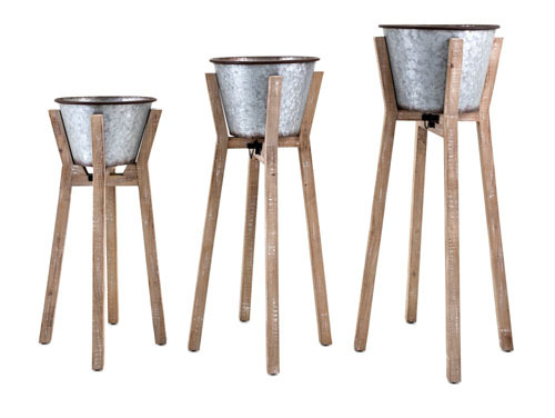 Iron Planters with Wood Stands