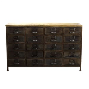 Wrought Iron Wooden Drawer Chest