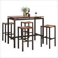 Wrought Iron Wooden Bar Table And Chair