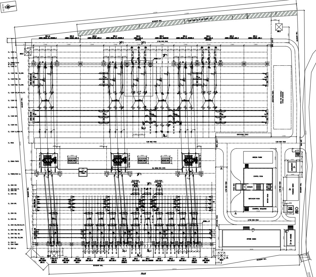 400kV Switchyard Layout Plan and Elevation Drawing