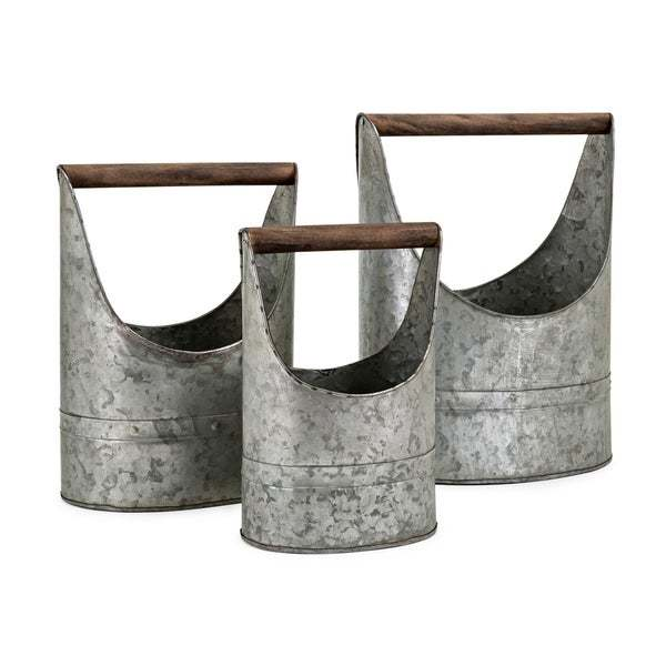 Metal Crafted Planters with Wooden Handle Set of Three