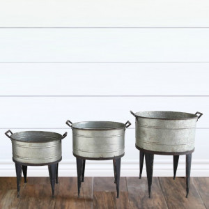 Metal Bucket Planter On Stand