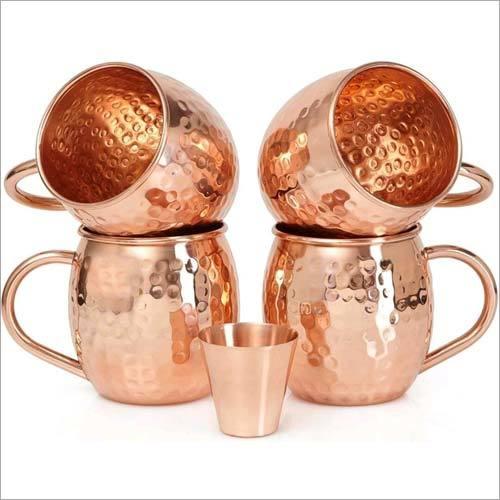 Copper Mug And Glass Set