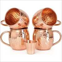Copper Mug And Glass Set