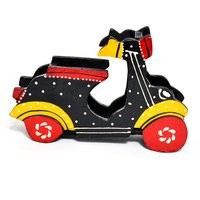 Home Decor Gift Purpose Painted Wooden Scooter Visiting Card Holder