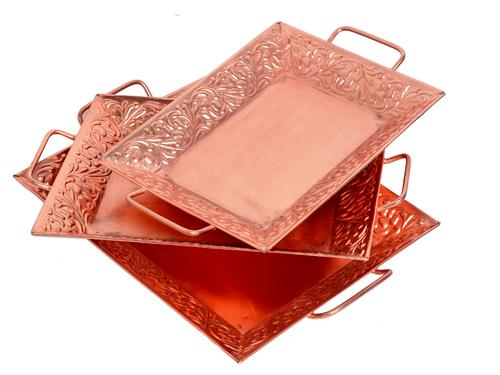 Home Decorative Indian Handmade Iron Copper Tray Set