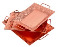 Home Decorative Indian Handmade Iron Copper Tray Set