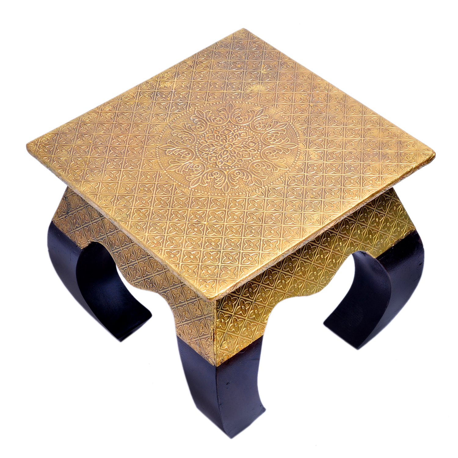 Home Decor Crafted Wooden Brass Fitted Curved Legs Stool