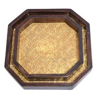 Home Decor Indian Handmade Wooden Brass Fitted 8 Corner Tray Set
