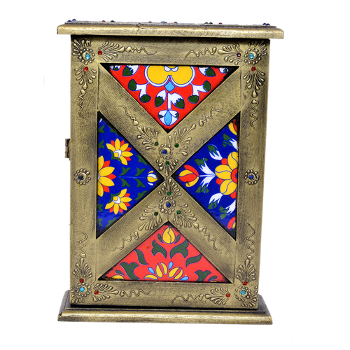 Home Decor Crafted Wooden Iron Brass Fitted Painted Tile Box