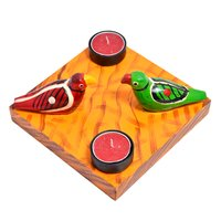 Indian Handmade Wooden Parrot Bird Tea Light