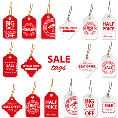 Red and White Sales Tags