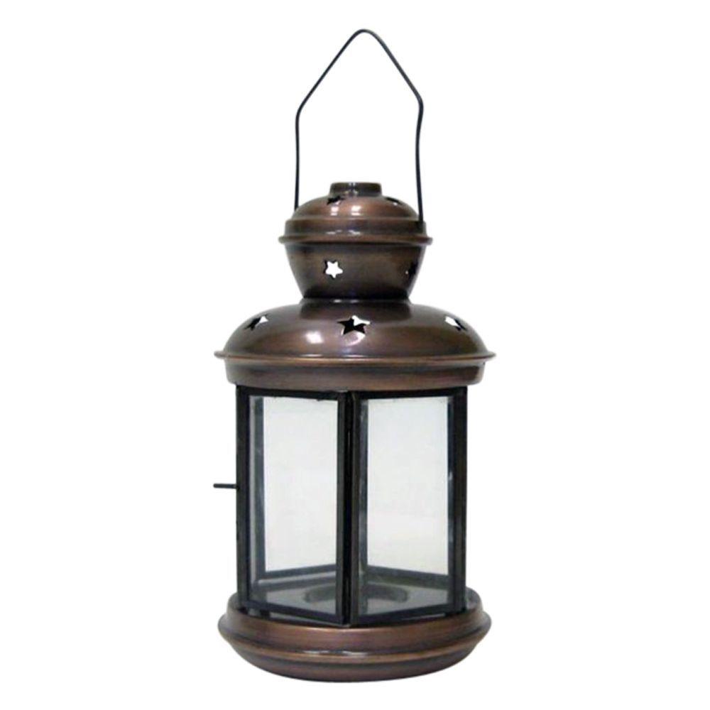 Antique Iron Candle Lantern Six Sided