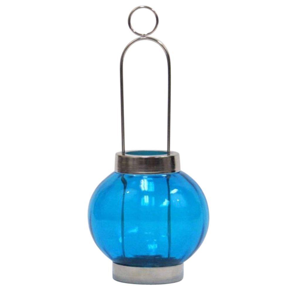 Candle T-Light Sliding Lantern Blue