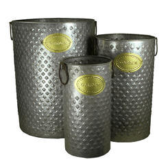 Three Piece Cylindrical Shaped Metal Planters