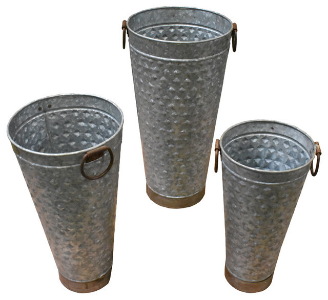 Three Piece Tall Metal Planter