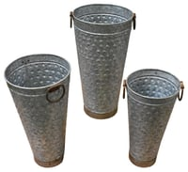 Three Piece Tall Metal Planter