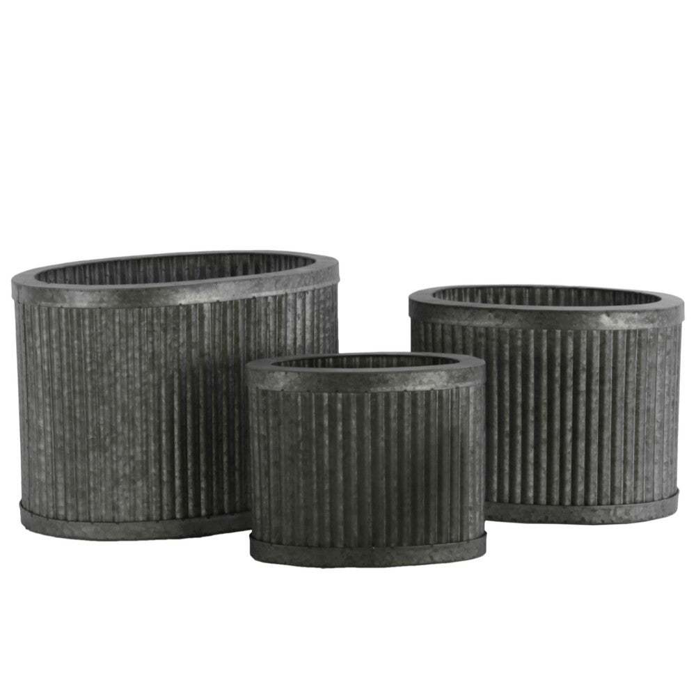 Metal Oval Planters with Combed Design