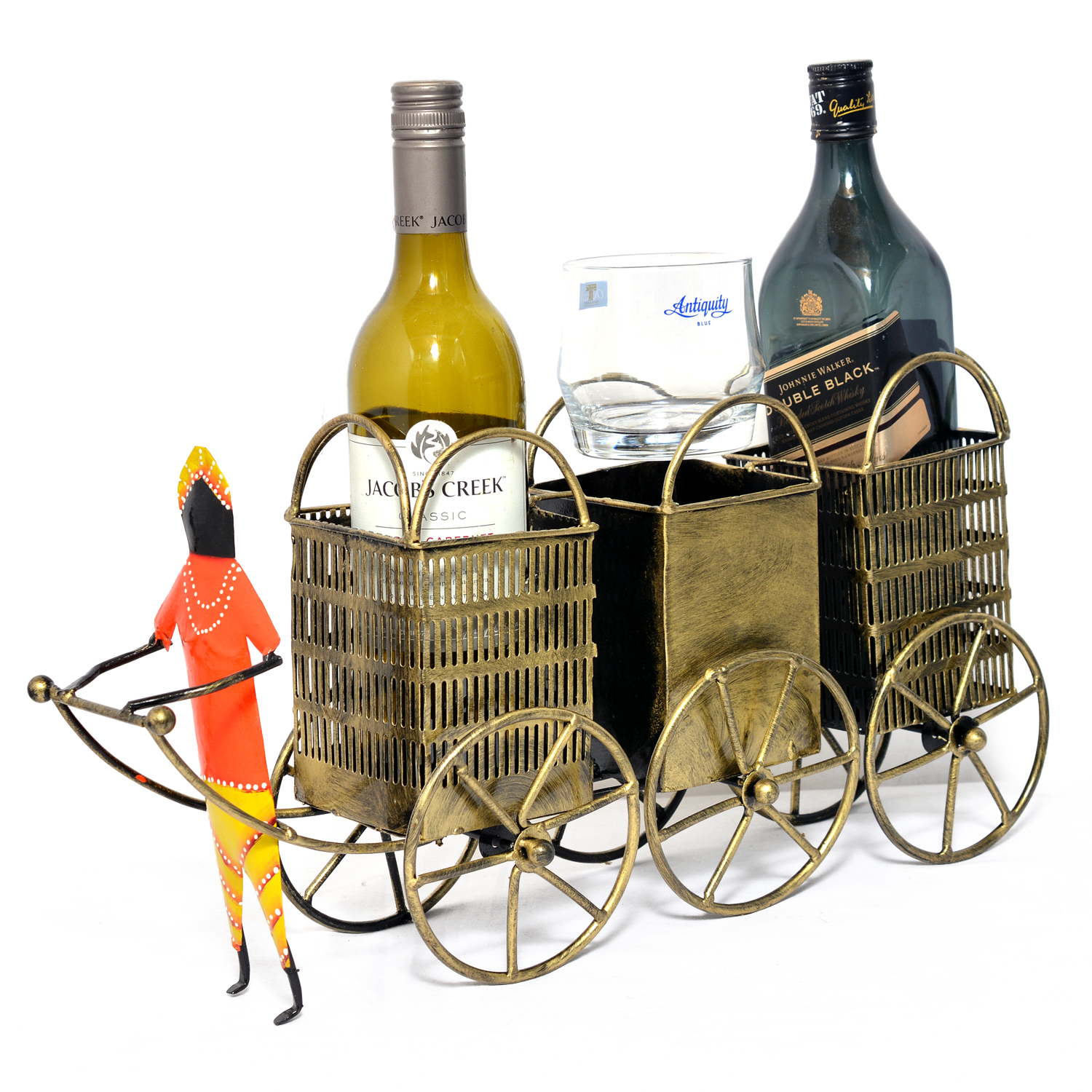 Iron Painted Man Pulling Cart 3 Wine Bottle Stand