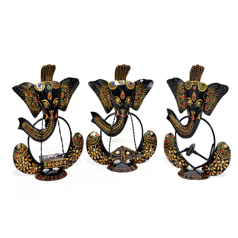 Iron Painted Ganesha Musician Set Of 3 Statue