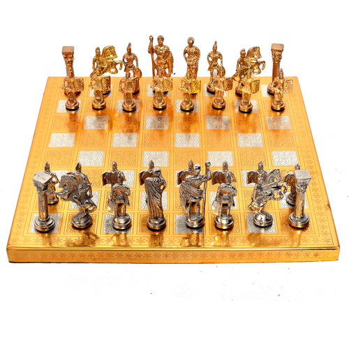 Home Decorative Indian Handmade Wooden, Iron & Steel Chess Board Set