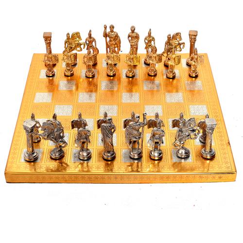 Home Decorative Indian Handmade Wooden, Iron & Steel Chess Board Set