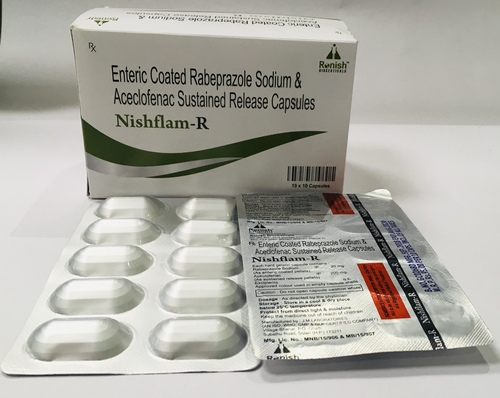 ENTERIC COATED RABEPRAZOLE SODIUM & ACECLOFENAC SUSTAINED RELEASE CAP