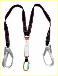 Double Webbing Lanyard with Shock Absorber and Scaffolding Hooks.