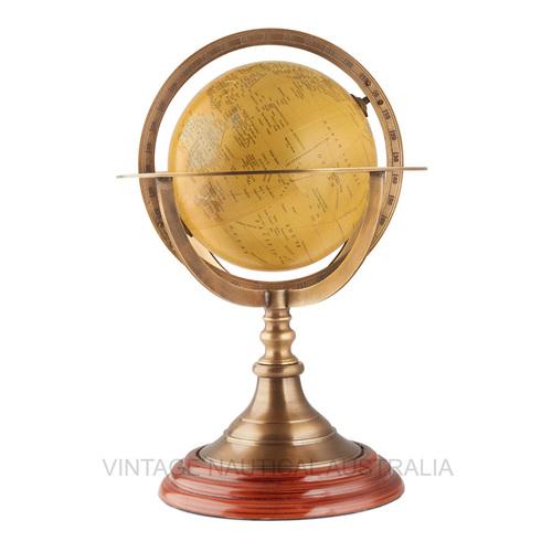 World Globe \\342\\200\\223 Brass Ringed