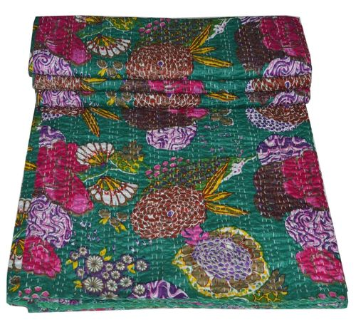 Green Hippie Indian Fruit Print Kantha Quilts Handmade Bedspread