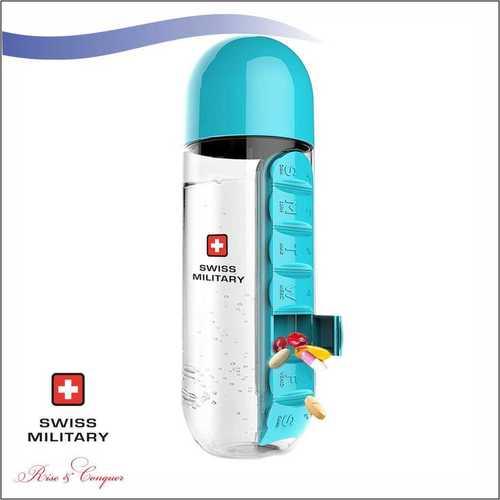 Swiss Military Pill Bottle with Inbuilt Pill Organiser 600 ML (SMF4)