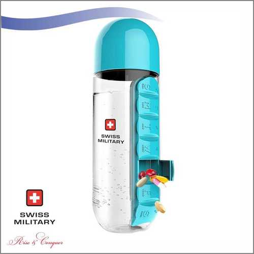 Swiss Military Pill Bottle with Inbuilt Pill Organiser 600 ML (SMF4)