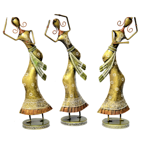 Home Decorative Indian Handmade Iron Painted Dancing Lady