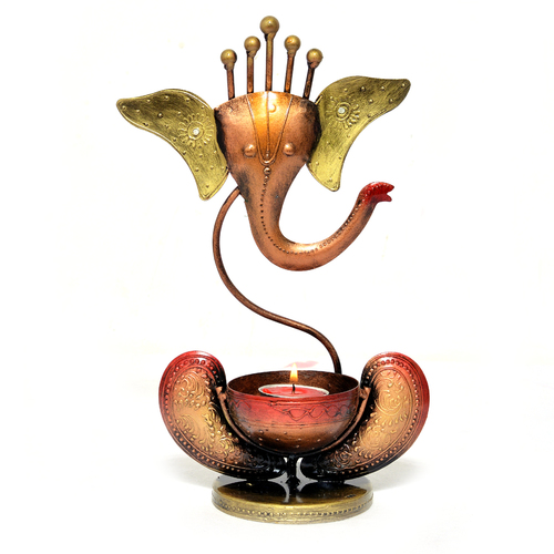 Home Decor Craft Iron Painted Ganesha Tea Light