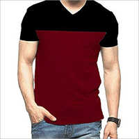 Mens V Neck Half Sleeve T-Shirt