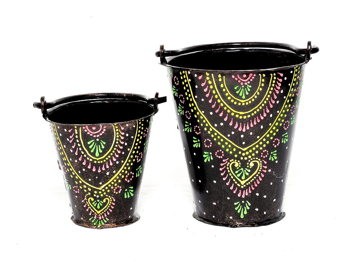 Home Decorative Designer Iron Painted Set Of 2 Bucket