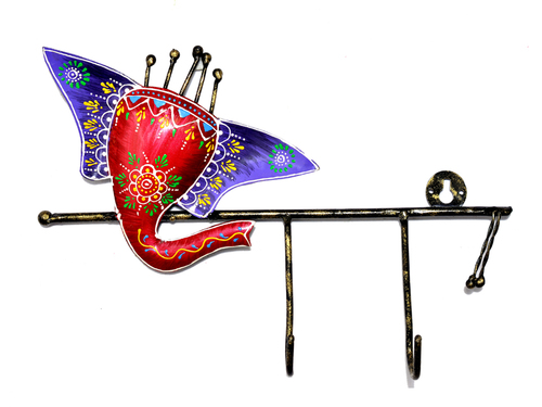 Home Decorative Indian Handmade Iron Painted Ganesha Wall Hooks Hanger