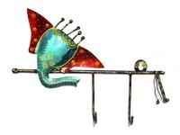 Home Decorative Indian Handmade Iron Painted Ganesha Wall Hooks Hanger