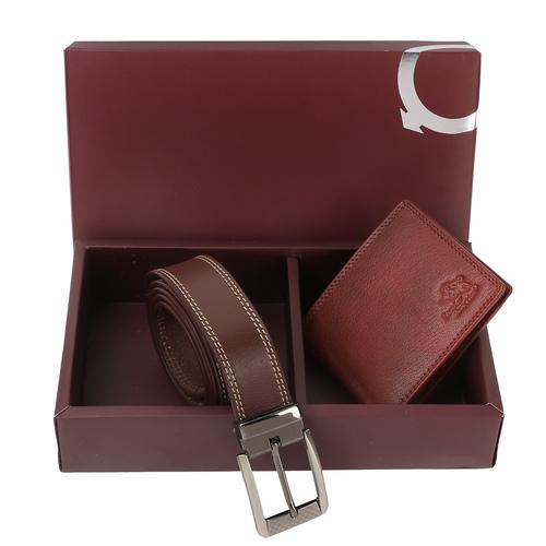 Men's Brown Wallet And Belt Combo