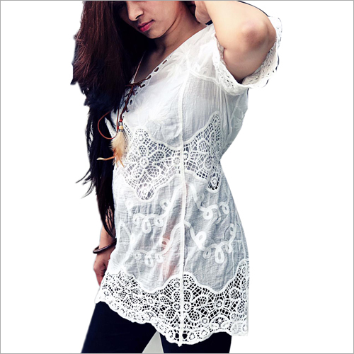 Ladies Designer White Top