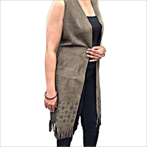 Ladies Sleeveless Long Shrug