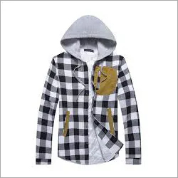 Mens Checked Hooded Shirt