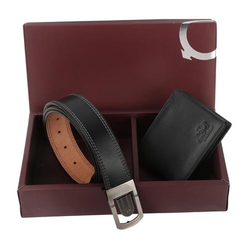 Black Combo Wallet and Belt Set For Men