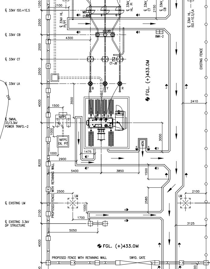 Switchyard Cable Trench Layout Drawing
