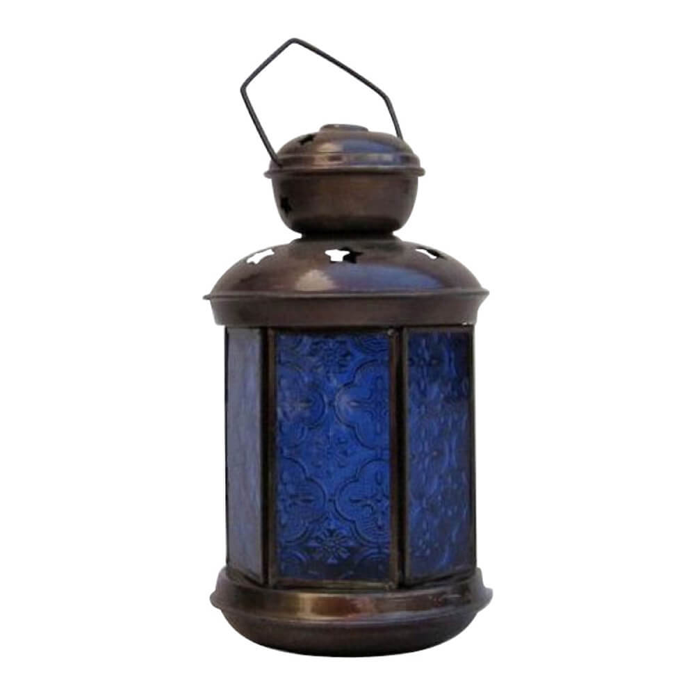 Antique 6 Sided Candle Lantern Blue